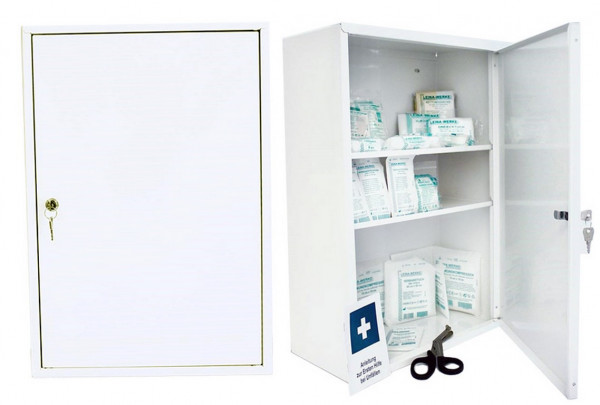 LEINA WERKE Erste-Hilfe Verbandschrank | Medisan D | mit Füllung DIN 13169