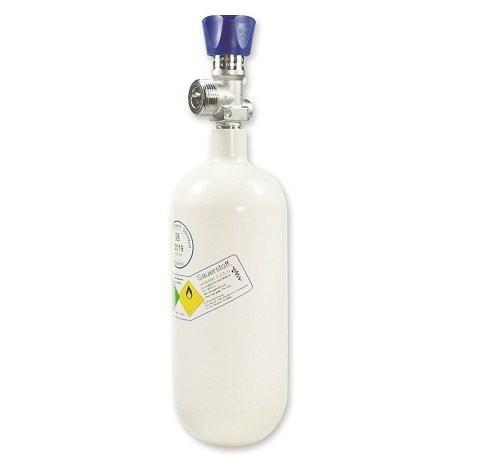 MeierMed Sauerstoff-Flasche O2 gefüllt mit Restdruckventil - Größe: 0,8 Liter
