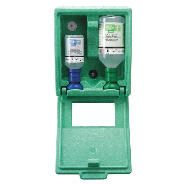 PLUM Augenspülstation - Wandstation geschlossen mit zwei Flaschen - 500ml Kochsalz und 250ml pH-neut