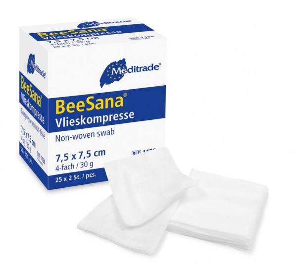 Meditrade® BeeSana® Vliesstoffkompresse | steril | Größe: 10 x 10 cm | Pack á 25 x 2 Stück