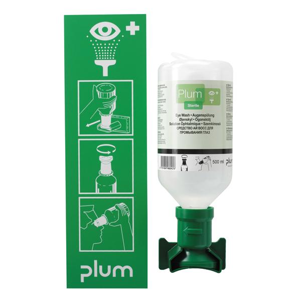PLUM Augenspülstation - Wandstation mit einer 500ml Flasche