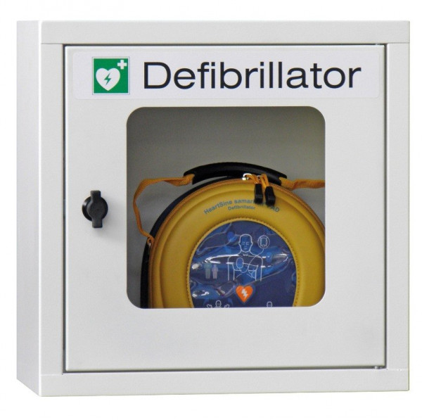 MeierMed AED Wandschrank - mit Alarmfunktion incl. 9 V Block Batterie - Farbe nach Wunsch