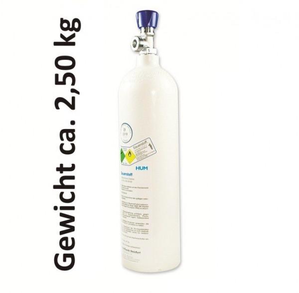 MeierMed Sauerstoff-Flasche O2 gefüllt mit Restdruckventil - Vollaluminiumflasche - Größe: 2 Liter