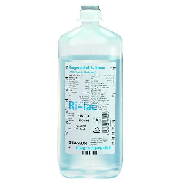B. Braun Ecoflac® Ringer Lactat Elektrolydlösung nach Hartmann - 10 x 500 ml Flasche