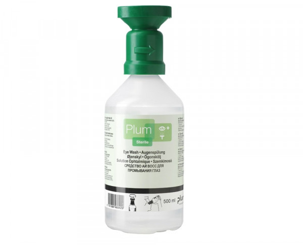 PLUM Augenspülflasche - Natrium-Chloridlösung (0,9 %) - 500 ml Flasche