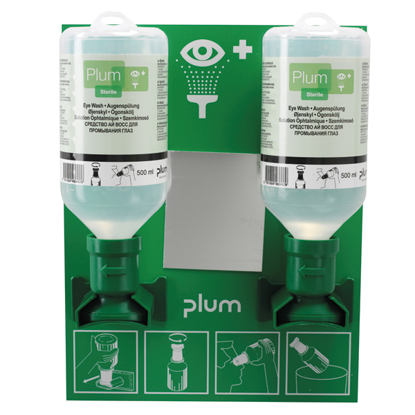 PLUM Augenspülstation - Wandstation offen mit zwei 500ml Flasche