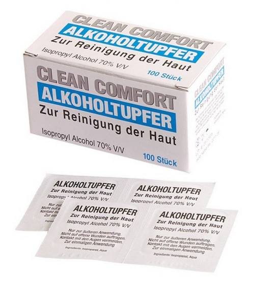 Med Comfort® Alkoholtupfer 3 x 3 cm | Packung á 100 Stück
