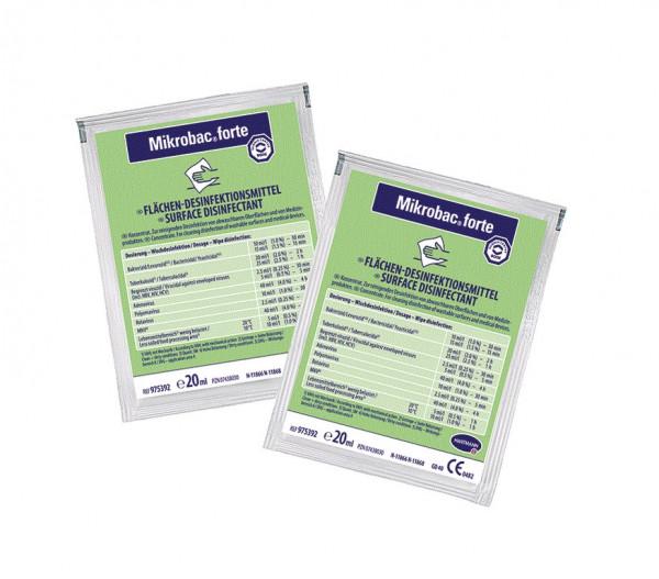 BODE Mikrobac® forte Flächen-Desinfektionsreiniger | 250 x Dosierbeutel á 20 ml
