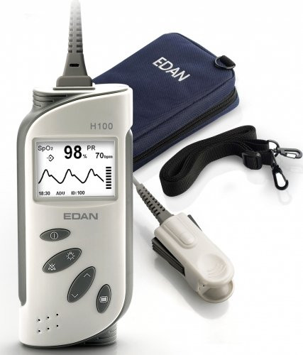 EDAN Hand-Pulsoximeter H100B - Pulsoximeter inkl. SpO2-Sensor Erwachsene mit Alarm und Trend