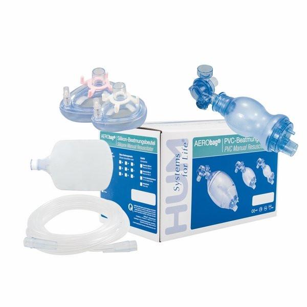 AERObag® PVC-Beatmungsbeutel Set mit 2 Masken und Zubehör - Babys