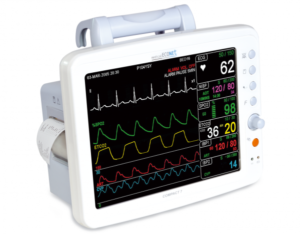 medical ECONET Compact 7 Tragbarer Patientenmonitor mit EtCo2 - Modul Sidestream