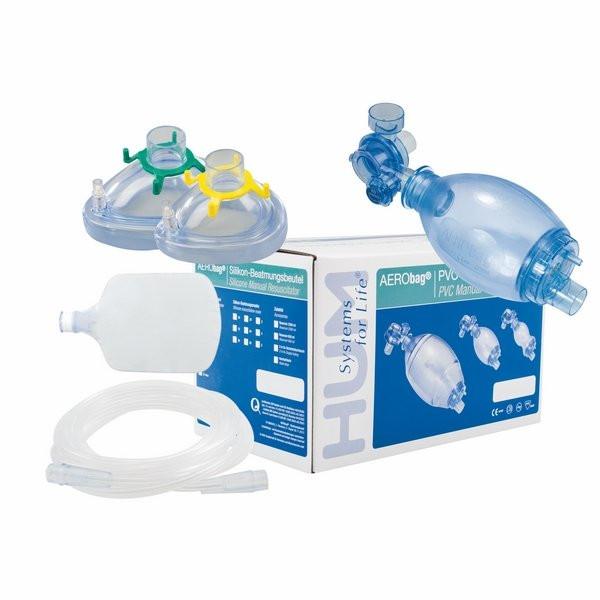 AERObag® PVC-Beatmungsbeutel Set mit 2 Masken und Zubehör - Kind