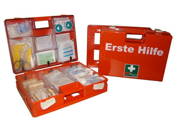 MeierMed Erste-Hilfe-Koffer | SAN | inkl. DIN 13169 Söhngen | Farbe: Orange