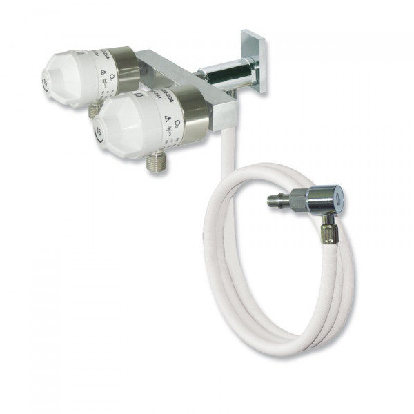 AEROway® FAST 152S-ZGA Sauerstoff Druckminderer | Flowregler mit 2 Abgängen