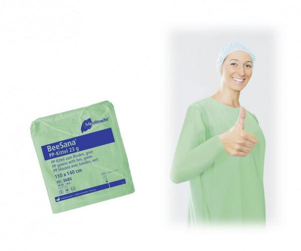 BeeSana® PP-Kittel / Schutzkittel mit Trikotbündchen | Farbe: Grün | 10 Stück